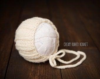 Newborn Baby Bonnet Knit cream ready to ship Photography Prop RTS