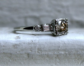 Fantastic Vintage 18K White Gold Champagne Diamond Engagement Ring - 0.78ct.