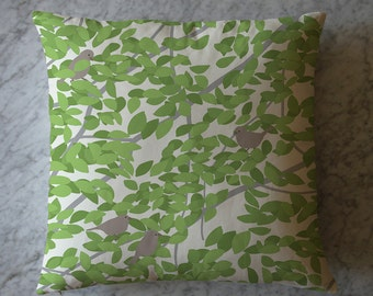 Pillow with Leaves and Sparrows. March 19, 2014