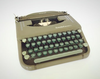 Smith Corona Skyriter Portable Typewriter, Metal Snap on Case, Vintage Industrial Decor, Stage Movie Prop