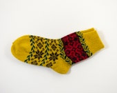 Knitted Wool Socks, Folk Pattern Socks - Yellow and Red, Size Large