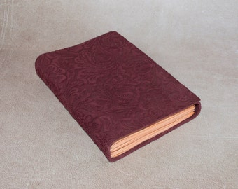 Suede maroon journal sketchbook notebook embossed floral