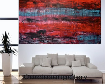 """56""""  Original Large Abstract Painting  Acrylic Painting Modern Art  Palette Knife Handmade by Carola, 56""""x28"""""""