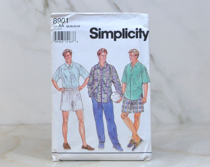 Vintage Simplicity Uncut Pattern 8901 1994 Mens Shirt And Pull On Pants Or Shorts Size AA 38-40-42-44 - Sewing Pattern - Crafting - Stitch