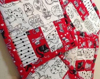 "4.5"" Kitten Quilt Block Fabric Indoor/Outdoor/Picnic Coasters/Mug Mats - 4 piece set"