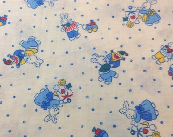 1 Yard 100% Cotton Blue/White Nursery Retro Print Fabric
