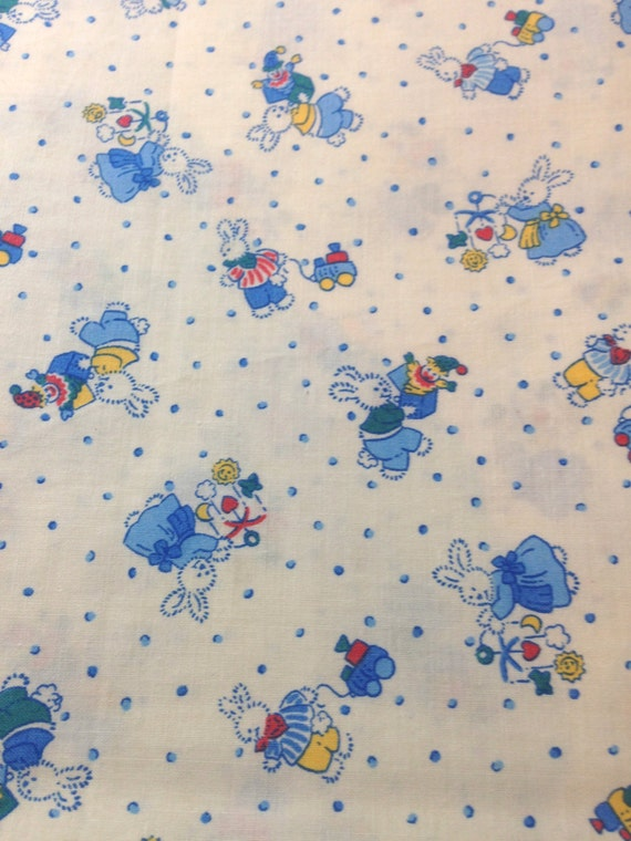 1 yard 100 cotton blue white nursery retro print fabric for Retro nursery fabric