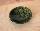 Olive Green Ring Dish - Handmade Trinket Dish / Ring Holder / Jewelry Bowl - Modern Bohemian Decor - Boho Dish - Made in Colorado