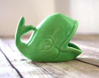 Whale Ring Holder - Green Ceramic Whale Jewelry Dish, handmade from vintage mold.  Perfect engagement or wedding ring holder