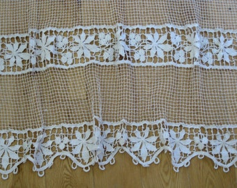 French filet lace curtain panel with broad lace bands
