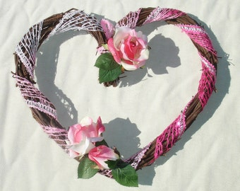 Pink Heart Shaped Wreath - Valentine's Day or Wedding Decor