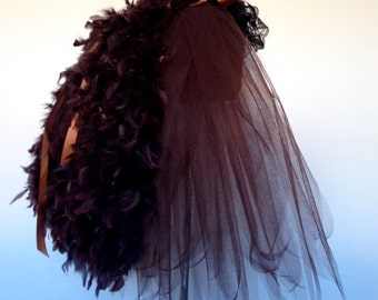 Brown Steam Punk Feather Burlesque Bustle Belt all sizes at checkout