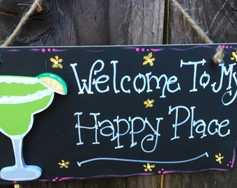 MARGARITA WELCOME TO My Happy Place Sign Beach Decor Wood Tiki Bar Home flip flops coconut drink palm tree
