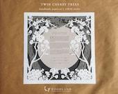 SALE Twin Cherry Trees papercut ketubah