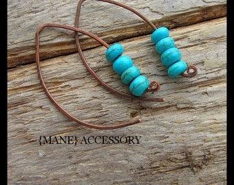 Turquoise Magnesite Earrings - Copper Earrings - Boho - Beaded Earrings - Dangle Earrings - Hand Forged Earrings