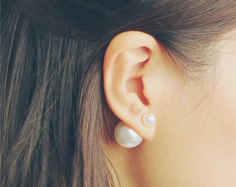 Pearl front and back stud earrings