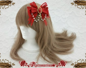 Red Barrette Bow A1016