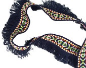 SALE Day Tribal Ethnic Woven Knitted Aztec Ribbon Trim with Fringe Tassels 1 YARD