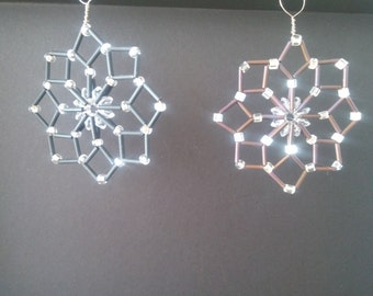 Set of 2 Hand Crafted, matte Black and Brown ornaments or window decor/sun catchers