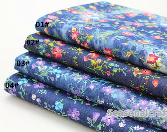 Summer Denim Cotton Fabric for craft, Pre Wahed Fabric, Retro Floral Texture,4 Colors for choice,diy 1/2 yard (QT725)