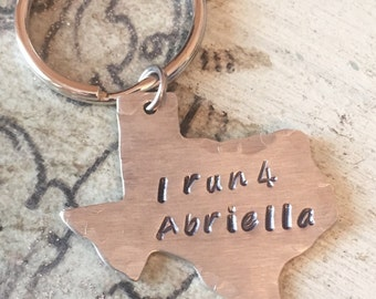 I run 4 Necklace-Hand stamped-Personalized-  Running buddy or Runner.  State blanks. Support I Run 4