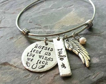 Handstamped Horse Quote Bracelet-Stainless Steel Expandable Bangle-Equestrian jewelry-Horse Lover