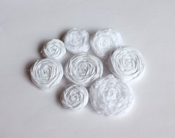 SALE Assorted Snow White Fabric Rosettes Embellishment