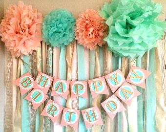Mint, Pink & Gold Happy Birthday Banner RTS