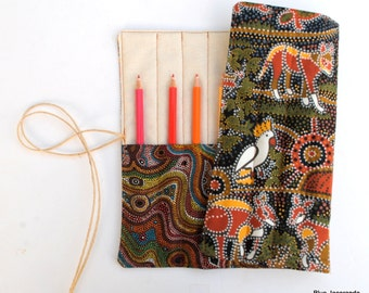 Australia Pencil Roll - made with Australian Aboriginal Fabrics  - Holds 12 Pencils / Crayons / Brushes / Pens / Hooks