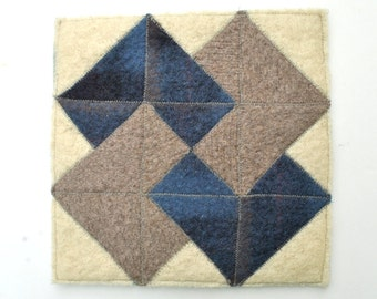 Mouse Pad made with Upcycled  Wool Felt featuring Quilt Block - Trivet