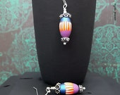 Striped Polymer Melon Bead Drop Dangle Earring - Orange Metallic Sapphire Violet Ivory Silver Finish - Boho Hippie Dangle Earring