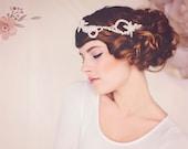Wedding Bridal Hairadornment, Pearl Hair Adornment, Crystal Bridal Headpiece, the Olivia Pearl Hair Vine #146