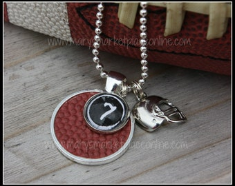 Real Football Skin Pendant with your Favorite Number includes chain