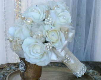 Real Touch Rose Brooch Wedding Bouquet  Vintage Victorian Andrea