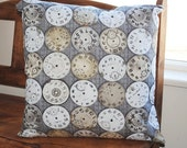 """eclectic clock print cotton fabric pillow cover 18"""""""