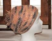 Handspun single corriedale 'undecided now'  peach and gray crochet adult hat