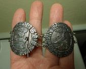 Vintage Aztec Mayan 800 Silver Link Bracelet Signed IND . ARC Ethnic Gyspy Relic