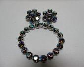 Vintage Weiss Bracelet & Earrings Rainbow AB Rhinestones Signed Demi Parure