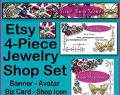 ETSY 4 Piece JEWELRY VINTAGE Set - Shop Banners - Pre-Made Jewelry Banners, Jewelry Banners - Etsy Jewellery Shop Banners, Vintage Etsy