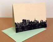 Single Oakland Skyline Linocut Card in Black