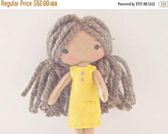 BACK 2 SCHOOL SALE Pocket PIxie - Small Doll - Felt Doll - Gingermelon Doll