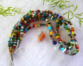 21 inch Southwestern Triple Strand Small Multi-Gemstone Necklace with Earrings