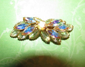 Vintage Gold Tone Clear And AB Rhinestone Brooch Pin