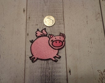 Embroidered Iron-On Applique, Pink Flying Pig