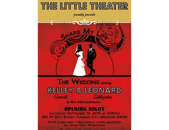 Theater Wedding, Playbill Wedding Invitation, African American Wedding,  Bride And Groom, Red Carpet Theme, Vintage Hollywood