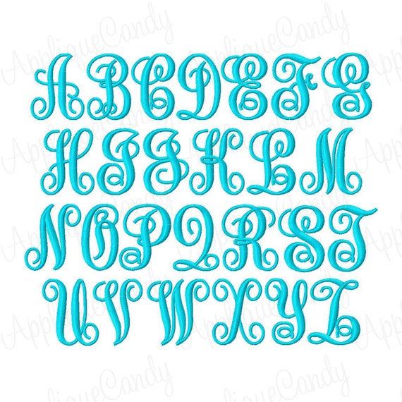 Swirl kk monogram inch font machine embroidery by