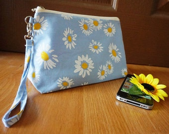 Daisy lazy bag, Daisy cutie bag, kawaii makeup bag, summer makeup bag, summer gift , unique gifts , daisy flower,light blue ,daisy bag pouch