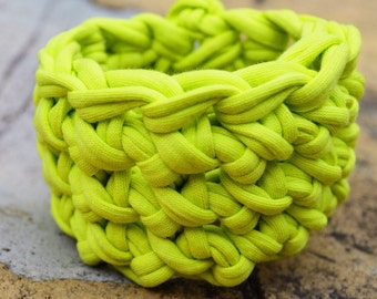 Neon Cuff Bracelet - Crochet, Jersey Cotton