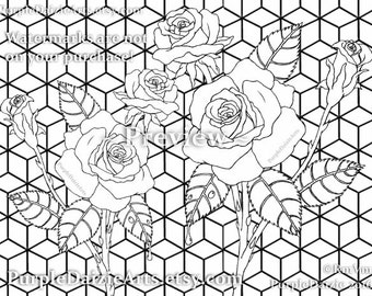 roses adult coloring page printable colour digital color sheet rose buds bud cluster flowers line drawing - Childrens Pictures To Colour In