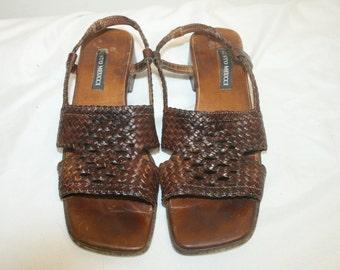 Size 7.5,Woven Leather Sandals,sesto meucci,slingbacks,woven sandals,leather sandals,sandals heels,huarache sandals,women sandals,leather